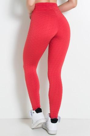 Calça Legging Tecido Bolha Invertida (Vermelho) | Ref: KS-F119-002