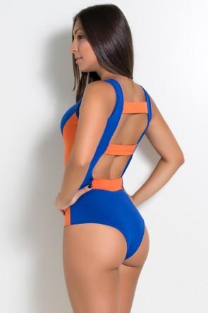 Body Natalie Duas Cores (Azul Royal / Laranja) | Ref:F678-001