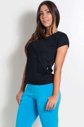 Camiseta de Malha com Ponto de Cobertura (Preto) | Ref: KS-F1034-004