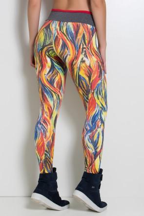 Legging Estampada com Cós Mescla e Detalhe Liso (Abstrato Fluor 3 / Mescla / Vermelho) | Ref: KS-F1905-001