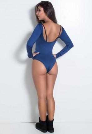 Body Manga Longa Liso com Detalhe em Tule (Azul Marinho / Preto) | Ref: KS-F2092-001