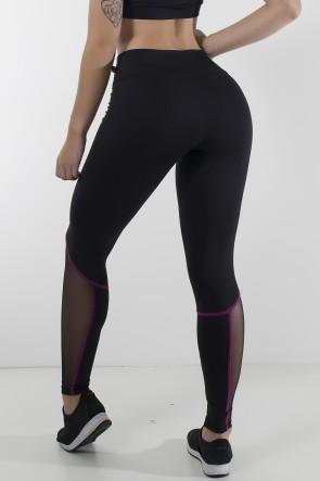 Calça Lisa com Tule e Ponto de Cobertura (Preto / Rosa Pink) | Ref: KS-F2136-002