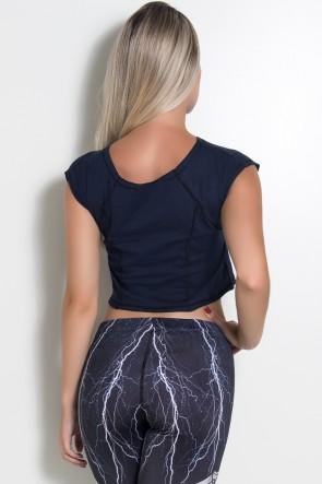 Mini Blusa de Malha com Ponto de Cobertura (Azul Marinho/ Preto) | Ref: KS-F2148-004