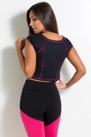 Mini Blusa de Malha com Ponto de Cobertura (Preto / Rosa Pink) | Ref: KS-F2148-005