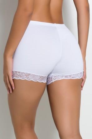 Mini Short Liso com Renda (Branco) | Ref: KS-F2199-001