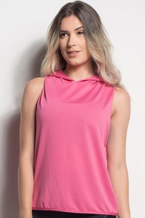 Camiseta Dry Fit Com Capuz E Transpassado Nas Costas (Rosa Pink) | Ref: CMT105-006/000/000
