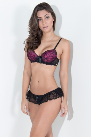 Conjunto Bruna 2365 (Preto com Rosa Pink) | Ref: KS-B199-002
