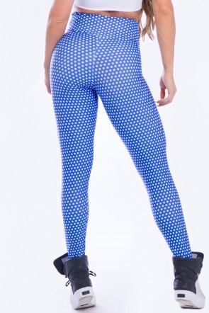 Calça Legging Sublimada Petit Poá Azul | Ref: K2521-A
