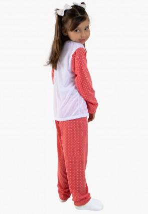 Pijama Longo Malha Inf. Fem. 108 (Goiaba) CEZ-PA108-006