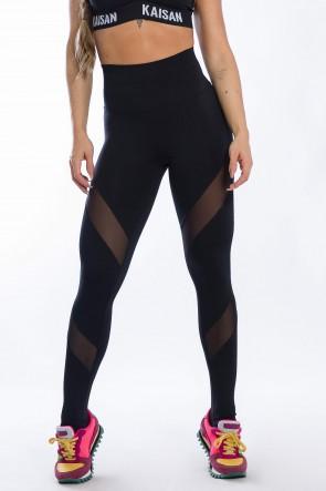 Calça Legging com Detalhe Tule Diagonal (Preto) | Ref: K2425-A