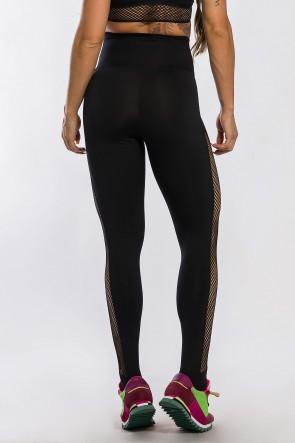 Calça Legging com Detalhe em Elástico Rendado (Preto) | Ref: K2426-A