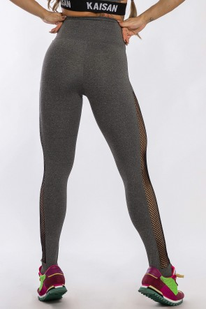 Calça Legging com Detalhe em Elástico Rendado (Mescla) | Ref: K2426-C