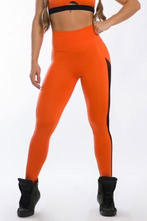 Calça Legging com Detalhe em Elástico Rendado (Laranja) | Ref: K2426-D