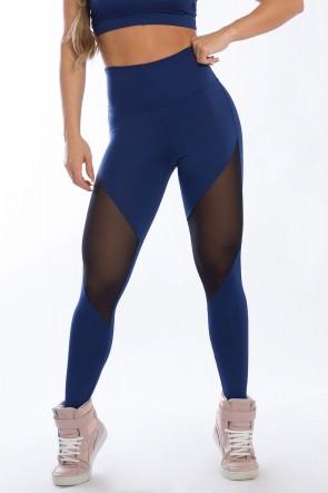 Calça Legging com Detalhe em Tule (Azul Marinho) | Ref: K2428-C