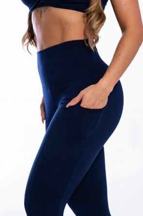 Calça Legging com Bolso Lateral (Azul Marinho) | Ref: K2424-C
