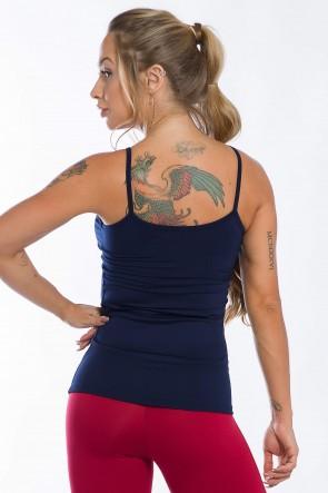 Camiseta de Alcinha com Bojo Removível (Azul Marinho) | Ref: K2442-C