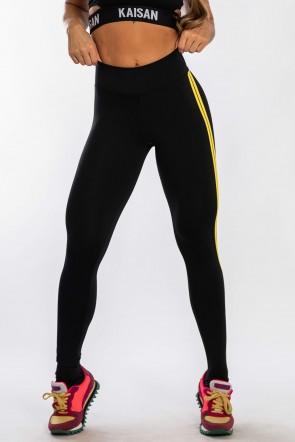 Calça Legging com Listras (Preto / Amarelo) | Ref: F17-010