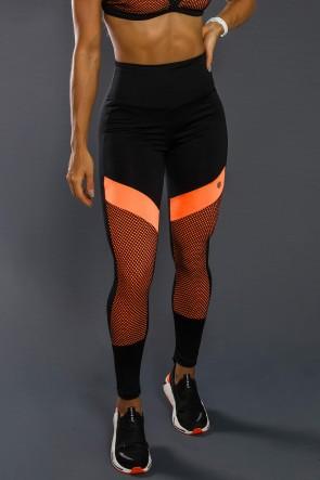 Calça Legging Com Recorte Neon E Tela (Laranja Neon / Preto)   Ref: K2557-A