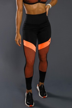 Calça Legging Com Recorte Neon E Tela (Laranja Neon / Preto) | Ref: K2557-A