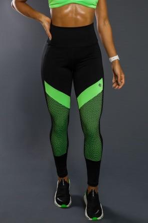 Calça Legging Com Recorte Neon E Tela (Verde Neon / Preto) | Ref: K2557-C