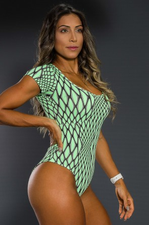 Body Estampado com Manguinha (Escama Verde) | Ref: K2564-B