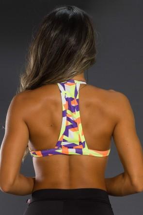 Top Fitness Estampado (Traços Roxo Laranja e Verde Limão) | Ref: K2566-F