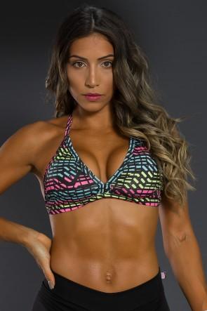 Top Fitness Estampado (Rosa Verde e Azul com Risco Preto) | Ref: K2566-G