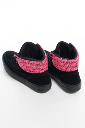 Tênis Sneaker Nobuck com Jacquard (Preto / Pink) | Ref: KS-T55