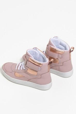 Sneakers Couro com Detalhe Metalizado 772-04 (Rose) | Ref: KS-T85-001