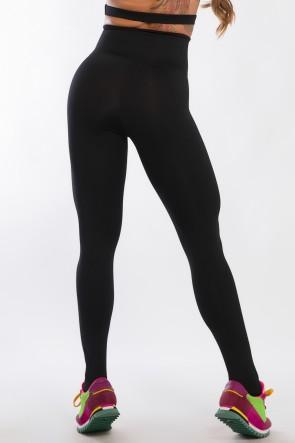 Legging Lisa Cós Alto com Zíper (Preto) | Ref: F1804-001