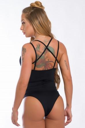 Body Liso com Detalhe de Elástico (Preto)   Ref: K2435-A