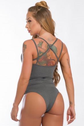 Body Liso com Detalhe de Elástico (Mescla) | Ref: K2435-C