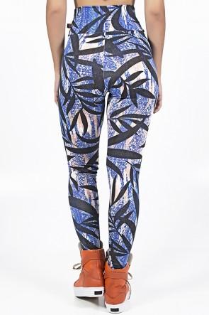 Legging Estampada Mosaico Azul e Laranja com Folha Preta | Ref: KS-F27-019