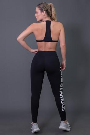Calça Legging Poliamida com Big Silk (Preto / Branco) | Ref: K2572-A