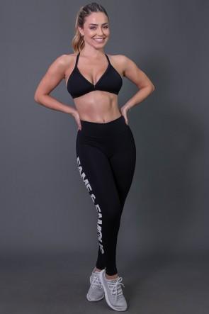Calça Legging Fitness com Big Silk (Preto / Branco) | Ref: K2572-A