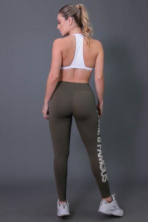 Calça Legging Fitness com Big Silk (Verde Militar / Off-White) | Ref: K2572-B