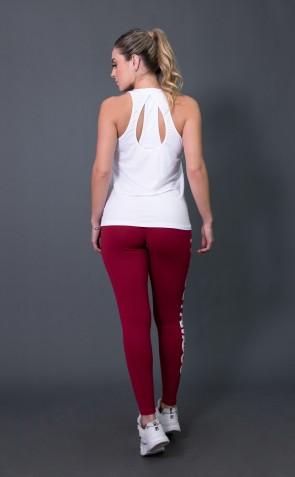 Calça Legging Poliamida com Big Silk (Vinho / Branco) | Ref: K2572-C