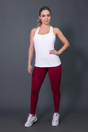 Calça Legging Fitness com Big Silk (Vinho / Branco) | Ref: K2572-C
