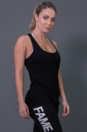 Camiseta de Viscose com Detalhe em Gota nas Costas (Preto) | Ref: K2573-A