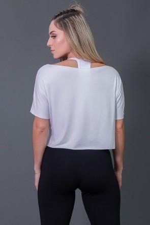 Cropped de Viscose com Silk Assinatura (Branco / Preto) | Ref: K2574-D