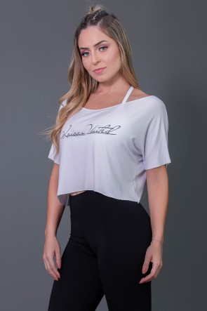 Cropped Fitness com Silk Assinatura (Branco / Preto) | Ref: K2574-D