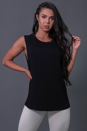 Camiseta Viscose Cavada com Silk (Preto / Off-White) | Ref: K2575-A