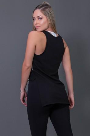 Camiseta Mullet Moletinho com Silk (Preto / Branco) | Ref: K2576-A