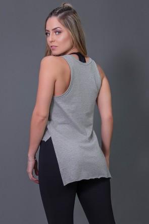Camiseta Mullet Moletinho com Silk (Mescla / Preto) | Ref: K2576-B