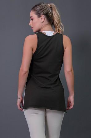 Camiseta Mullet Moletinho com Silk (Verde Militar / Off-White) | Ref: K2576-C