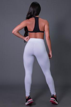 Calça Legging Poliamida  com Cadarço e Silk KS United (Branco / Preto) | Ref: K2582-A