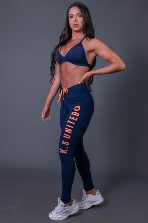 K2582-B_Calca_Legging_Fitness_com_Cadarco_e_Silk_KS_United_Azul_Marinho__Laranja__Ref:_K2582-B