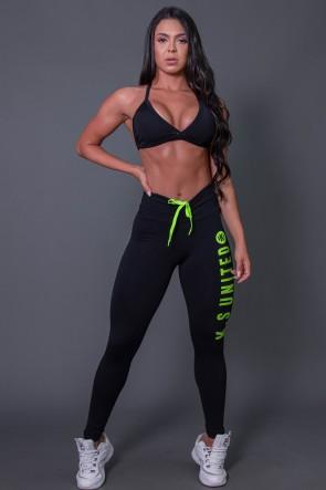Calça Legging Fitness com Cadarço e Silk KS United (Preto / Verde Fluor) | Ref: K2582-C
