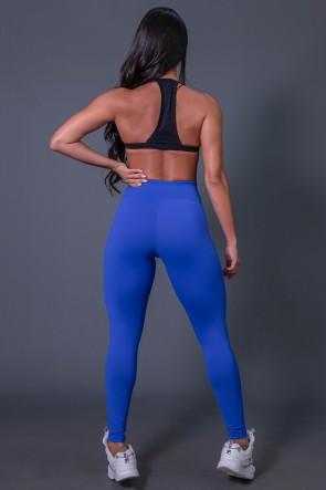 Calça Legging Poliamida com Cadarço e Silk KS United (Azul Royal / Preto) | Ref: K2582-D