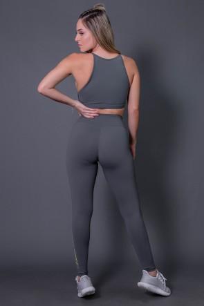 Calça Legging Poliamida com Silk Assinatura Pequena (Cinza Escuro / Verde Fluor) | Ref: K2583-C
